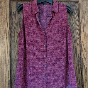LIMITED, M, sleeveless blouse, blue/ pink pattern